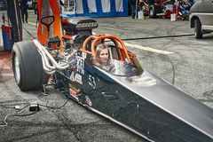 Norway drag racing, driver in a black race car front view Stock Photography