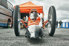 Norway drag racing, tuned race car view from the bottom Royalty Free Stock Photography