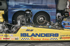 Norway drag racing, yellow race car side view Royalty Free Stock Photos