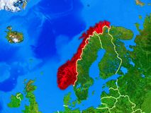 Norway on Earth with borders. Norway from space on model of planet Earth with country borders and very detailed planet surface. 3D illustration. Elements of this royalty free stock photography