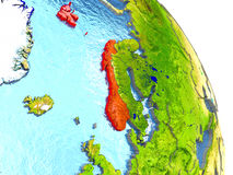 Norway on Earth in red Royalty Free Stock Photo