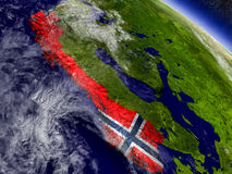 Norway with embedded flag on Earth Stock Photo