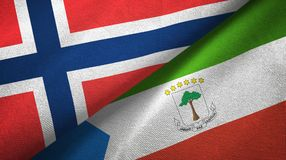 Norway and Equatorial Guinea two flags textile cloth, fabric texture. Norway and Equatorial Guinea two folded flags together stock illustration