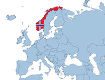 Norway on Europe map. In flags color Royalty Free Stock Images