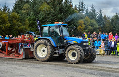 NORWAY, FARSTAD- 29 SEPT 2015: Tractor pulling. Royalty Free Stock Photo