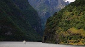 Norway 2013. Ferry in Naroyfjord royalty free stock photos
