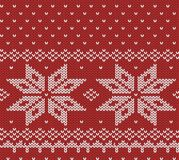 Norway festive red sweater texture. Fair Isle Design. Vector seamless knitting pattern vector illustration
