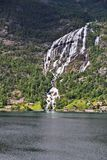Norway fiord and waterfall Royalty Free Stock Photos