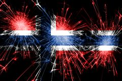 Norway fireworks sparkling flag. New Year, Christmas and National day concept.  royalty free illustration
