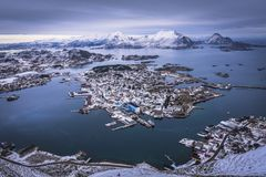 Norway fishing village. Fishing village from above. Lofoten Islands in Winter time - Norway Royalty Free Stock Photography