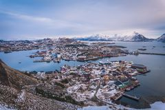 Norway fishing village. Lofoten fishing village panorama - Norway Stock Photo