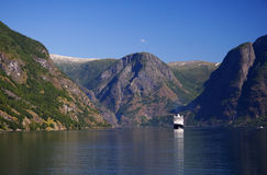 Norway fjord with cruise ship Stock Images