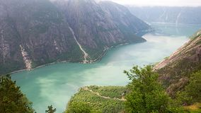 Norway Fjord - Eidfjord. A panoramic view of a beautiful landscape in Hardangerfjord, Eidfjord in Norway Stock Photography