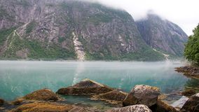 Norway Fjord - Eidfjord. A panoramic view of a beautiful landscape in Hardangerfjord, Eidfjord in Norway Stock Images