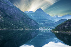 Norway Fjord Geiranger, Seaside Mountains Stock Image