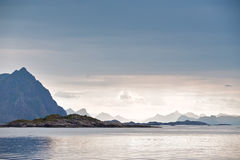 Norway fjord and islands. Cloudy Nordic day. Norway fjord and lofoten islands. Cloudy Nordic day royalty free stock photography