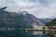 Norway fjord landscape with mountains and small town. Royalty Free Stock Photography