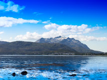 Norway fjord mountains ocean landscape background Stock Photos