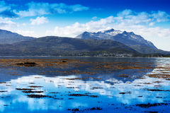 Norway fjord mountains ocean landscape background Royalty Free Stock Photo