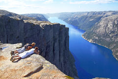 Norway Fjord Mountains Tourists Royalty Free Stock Photography