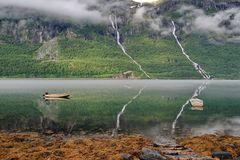 Norway fjord reflection Royalty Free Stock Photography