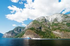 Norway Fjord Scenic with Ferry Royalty Free Stock Images
