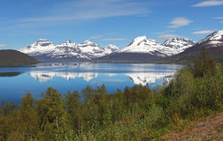 Norway fjord at spring near Tromso Stock Photo