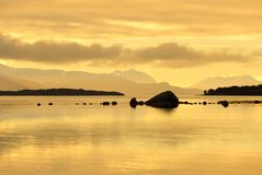 Norway fjord sunset seascape. Beautiful Norway fjord sunset seascape Stock Photo