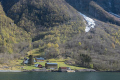 Norway Fjord tour olf wooden House and mountain view Stock Photography