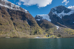 Norway Fjord tour Traditional House and mountain view Royalty Free Stock Photography