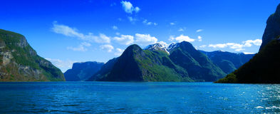 Norway Fjords. A panoramic view of a beautiful landscape in Sognefjord, Aurlandsfjord in Norway Stock Photography