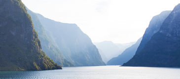 Norway fjords. Panoramic view at sognefjord, beautiful norway fjord Stock Image