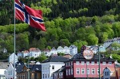 Norway Flag, Bergen Historical Buildings stock photo
