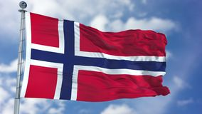Norway Flag in a Blue Sky. Use this clip loud and proud to express loyalty and love to our country. It is a seamless loop with luma channel stock photography