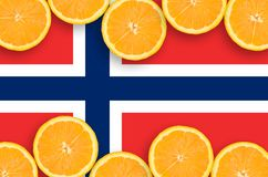 Norway flag in citrus fruit slices horizontal frame. Norway flag in horizontal frame of orange citrus fruit slices. Concept of growing as well as import and vector illustration