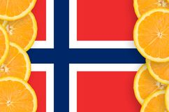 Norway flag in citrus fruit slices vertical frame. Norway flag in vertical frame of orange citrus fruit slices. Concept of growing as well as import and export vector illustration