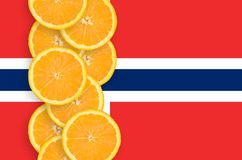 Norway flag and citrus fruit slices vertical row. Norway flag and vertical row of orange citrus fruit slices. Concept of growing as well as import and export of royalty free illustration