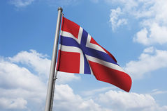 Norway Flag with Clouds Royalty Free Stock Photos