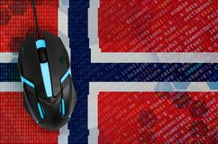 Norway flag and computer mouse. Digital threat, illegal actions on the Internet. Norway flag and modern backlit computer mouse. The concept of digital threat royalty free stock image