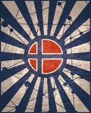 Norway flag concept. Norway national flag on sunburst background. Card template for national holiday celebration. Blue and white rays textured by lines with dots stock image