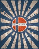 Norway flag concept. Norway national flag on sunburst background. Card template for national holiday celebration. Blue and white rays textured by lines with dots royalty free illustration