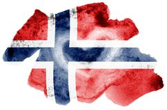 Norway flag is depicted in liquid watercolor style isolated on white background. Careless paint shading with image of national flag. Independence Day banner royalty free stock photo
