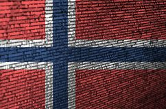 Norway flag is depicted on the screen with the program code. The concept of modern technology and site development.  vector illustration