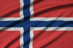 Norway flag is depicted on a sports cloth fabric with many folds. Sport team banner. Norway flag is depicted on a sports cloth fabric with many folds. Sport team stock illustration