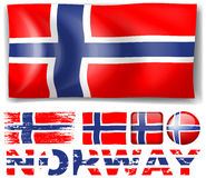 Norway flag in different designs. Illustration Stock Photos