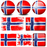 Norway flag on different objects Royalty Free Stock Images