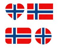 Norway flag in different shapes, Scandinavian country, isolated Norwegian banner with scratched texture, grunge. Norway flag in different shapes, Scandinavian royalty free illustration