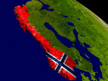 Norway with flag on Earth Royalty Free Stock Photography