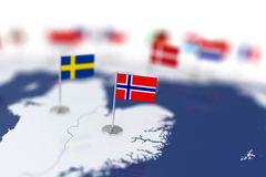 Norway flag in the focus. Europe map with countries flags Stock Photography
