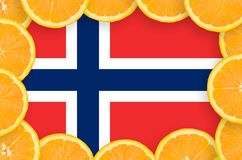 Norway flag in fresh citrus fruit slices frame. Norway flag in frame of orange citrus fruit slices. Concept of growing as well as import and export of citrus stock illustration